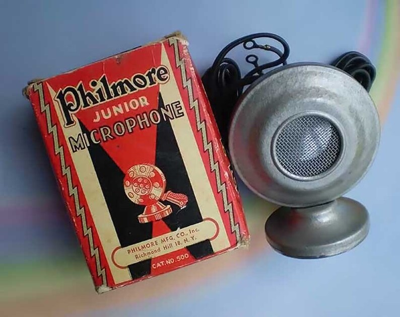 Vintage 40s Philmore Junior Microphone in Box Never Used image 0