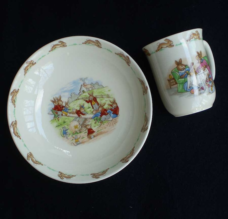 Vintage Bunnykins Seesaw Bowl and Tea Party Drinking Cup Royal image 0