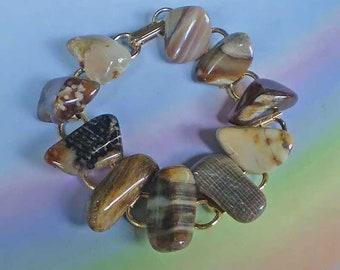 Vintage 60s Polished Tumbled Agate Bracelet