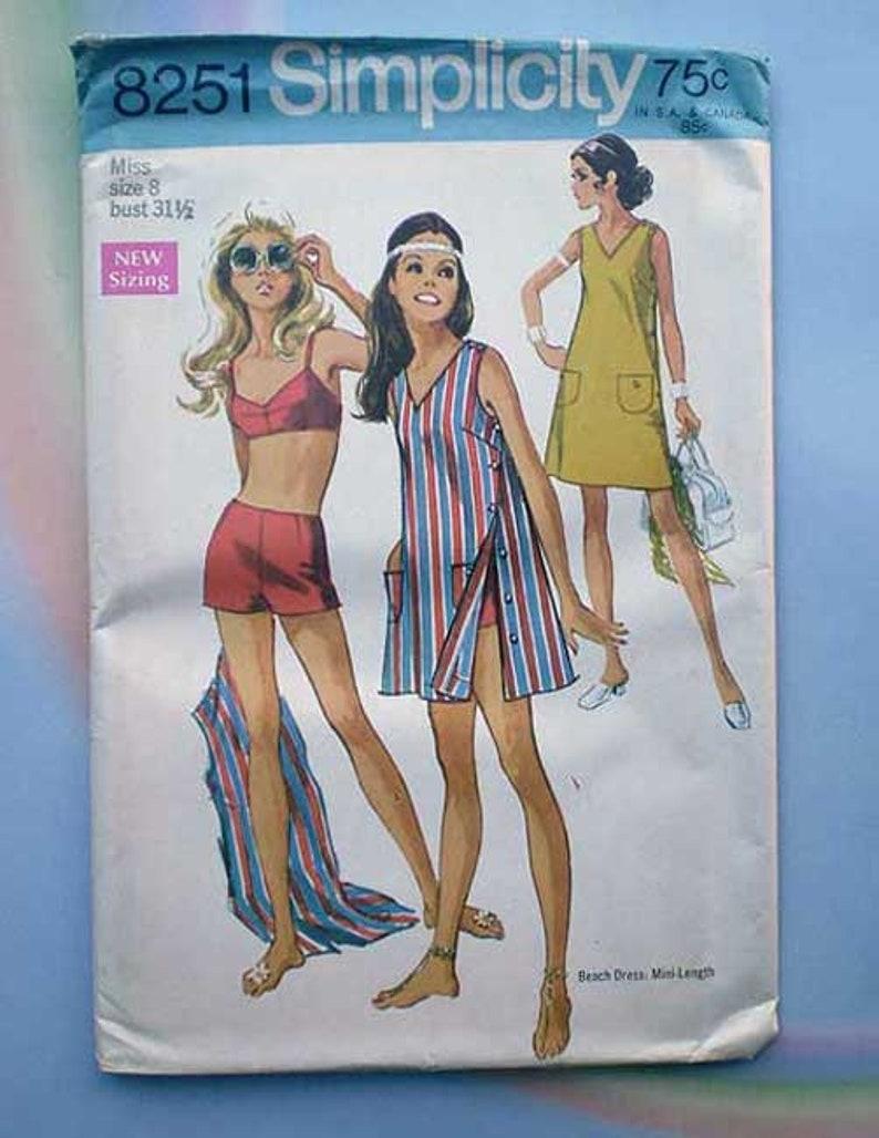 Vintage 60s Uncut Pattern Playsuit Beach Mini Dress 31 1/2 image 0