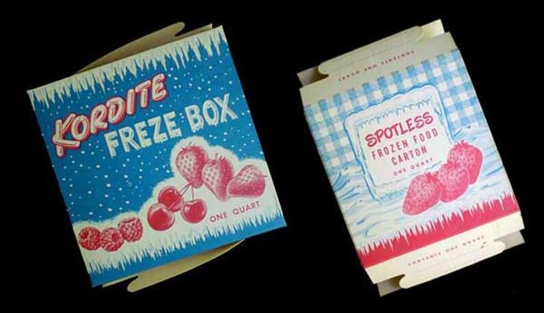 Vintage 50s Freezer Boxes Lot 2 NOS Kitchen Decor image 0
