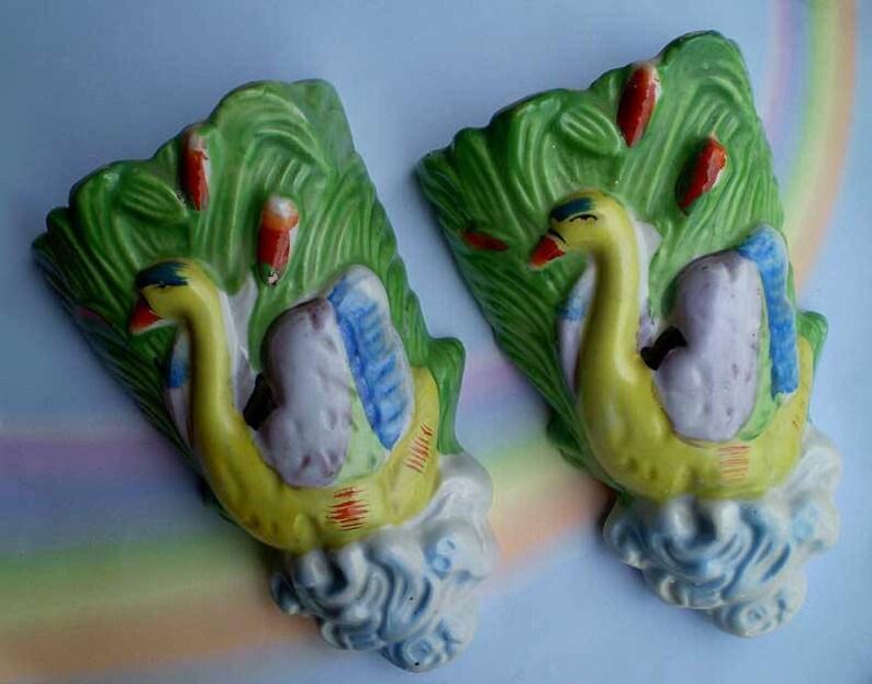 Vintage 50s Swan Wall Pockets Japan Porcelain image 0