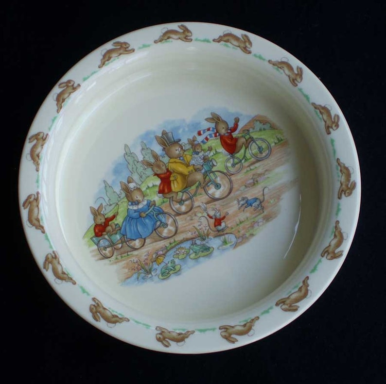 Vintage Bunnykins Family Cycling Porridge Bowl Royal Doulton image 0