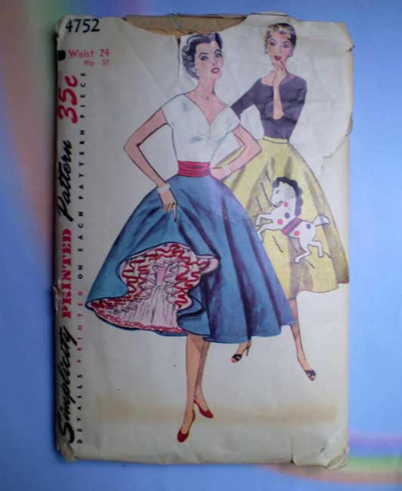 Vintage 50s Circle Skirt Pattern Petticoat and Transfer 24 image 0