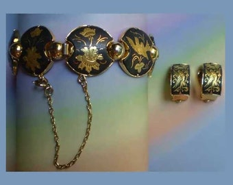 Vintage 70s Damascene Bracelet Earrings Set Birds Flowers