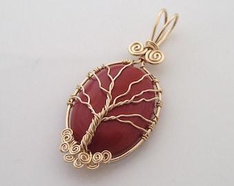"Gold Red Jasper ""Tree of Life"" Pendant"