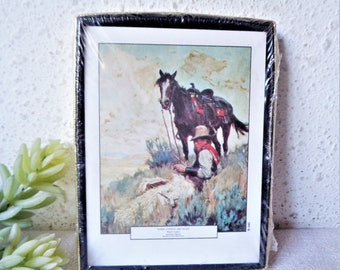 vintage bookplates antioch publishing cowboy reading and horse