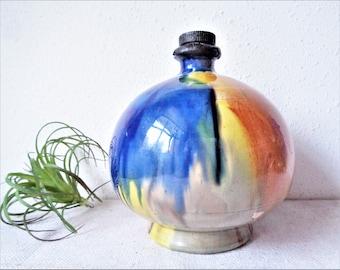 vintage mexican pottery barware wine bottle decanter santo tomas baja ca