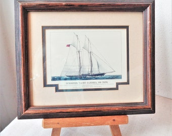 vintage sailing ship schooner cambria framed art print nautical racing sailboat