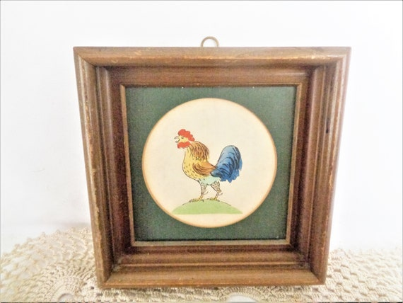 Vintage Chicken Rooster Art Framed Watercolor Print Etsy