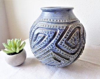 vintage studio pottery carved blue pot sculpture