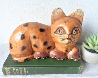 vintage cat wood sculpture