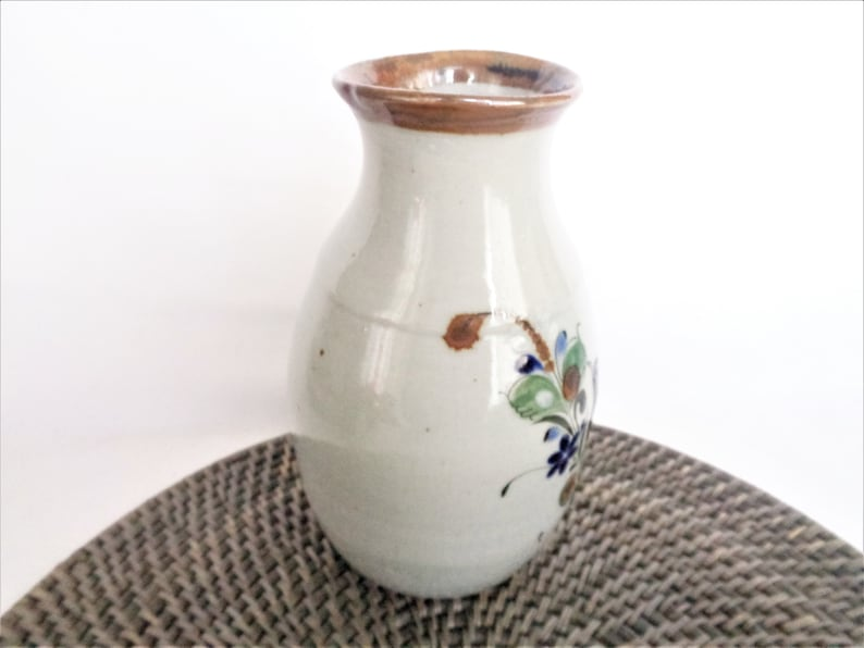 vintage mexican pottery vase bird and flowers