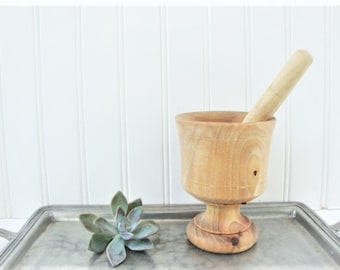 vintage wood mortar and pestle apothecary herb grinder