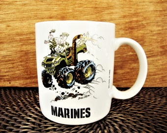 vintage marines mug big deal usmc 1980s coffee cup