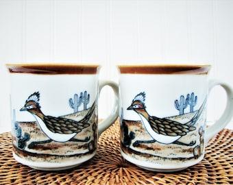 vintage roadrunner bird mugs southwest desert coffee cups