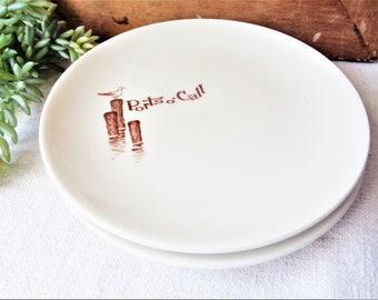 2 vintage ports o call plates salad size walker china tiki restaurant ware