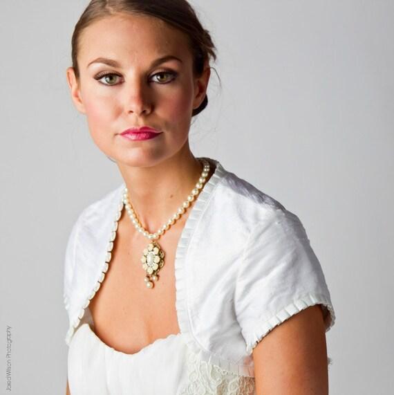 Gabrielle Seide Dupionseide Hochzeit Bolero mit