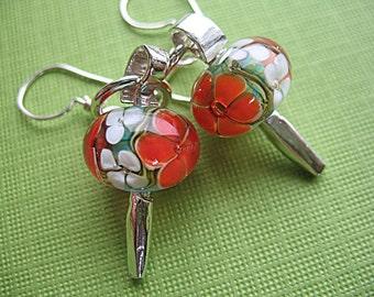 Red Floral Borosilicate Lampwork Earrings