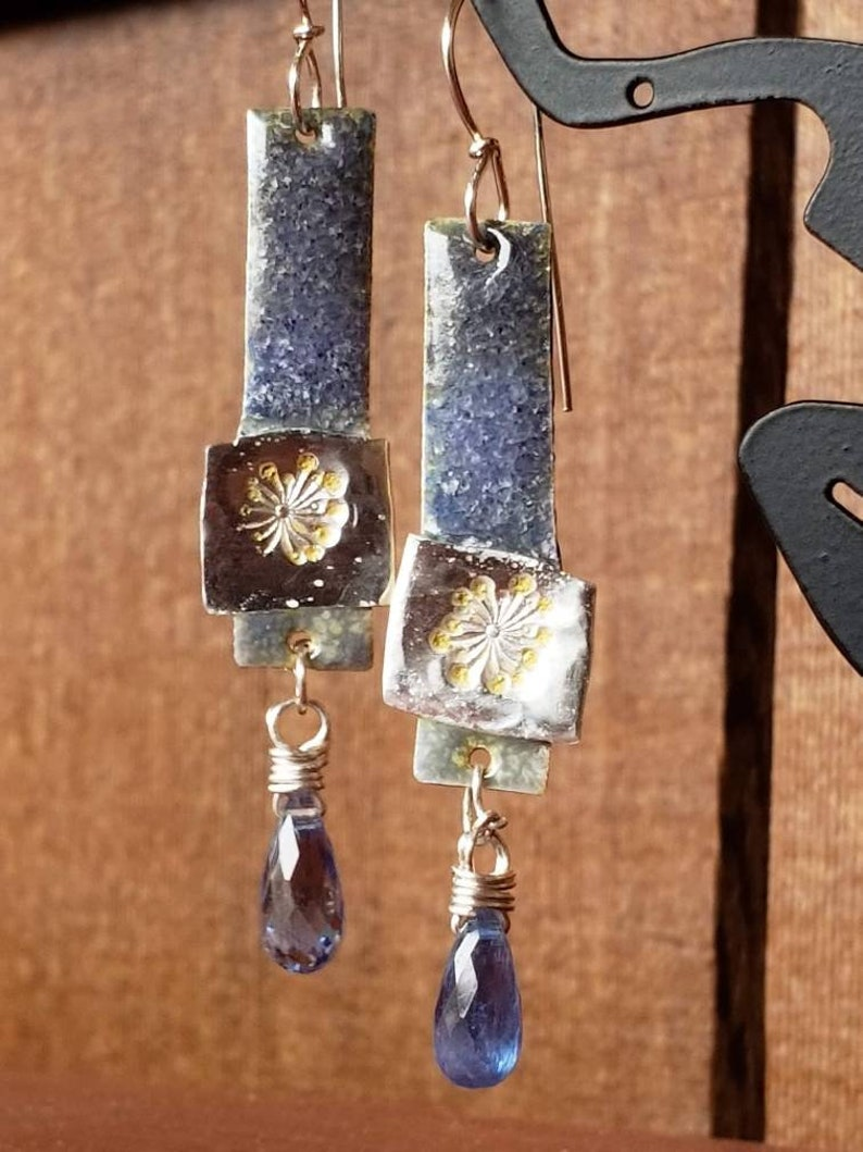 Blue Enameled Dangle with Dandelion and Blue Kyanite image 0