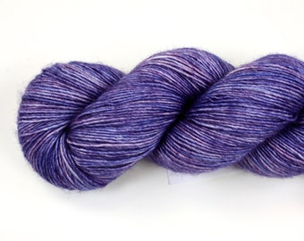 Aster--hand dyed sock weight yarn, merino and silk single ply, (438yds/100gm)