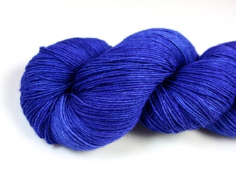 Blue Suede Shoes--hand dyed sock weight yarn, BFL superwash (655yds/150gm)