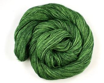 Fresh--hand dyed sock weight yarn, merino and silk single ply, (438yds/100gm)