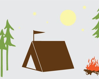 Happy Camping Tent Scene Vinyl Wall Decal Graphic