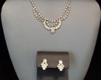 Rhinestone Choker Necklace & Earrings Set - Vintage - 1960s