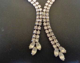 Stunning Rhinestone Y Necklace - Vintage - 1960s