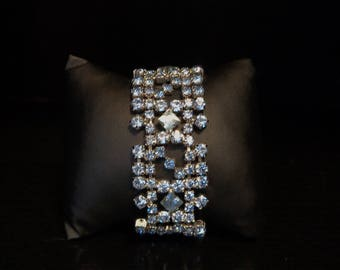 Vintage - Light Blue Rhinestone Bracelet - square stones