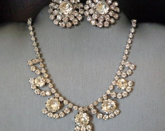 Weiss Rhinestone Necklace and Clip On Earrings/Shoe Clips Set - Vintage