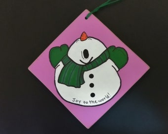 Joy to the world! - Snowman - Christmas Ornament - Can be Personalized