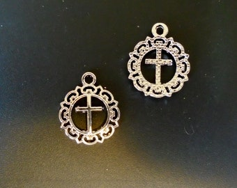 Antique Sliver Plated Cross Charm - Cross in a Wreath - Christian/Inspirational - Low Shipping