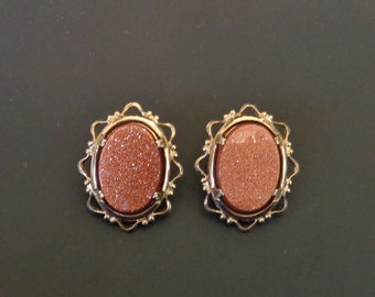 Gold Tone - Rose Glitter Clip On Earrings/Shoe Clips - Vintage