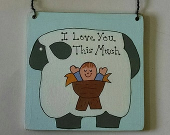 I Love You This Much - Baby Jesus - Christmas Manger Ornament - Rustic