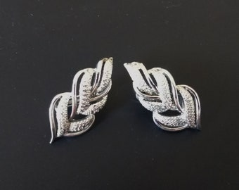 Coro Silver Leaf Earrings - Clip On/Shoe Clips - Gift for Her