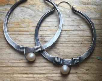Sterling Silver Hoop Earrings /  Large Hoops /  Hammered Hoop Earrings / Silver Hoops / DanielleRoseBean Big Hoop Earrings / Silver Hoops