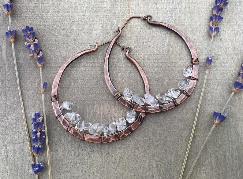 Copper Hoop Earrings / Herkimer diamond  / Hoop Earrings / image 0