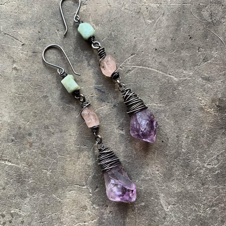 Raw Gemstone Earrings/ Ombre / Dangle Earrings / Amethyst / image 0
