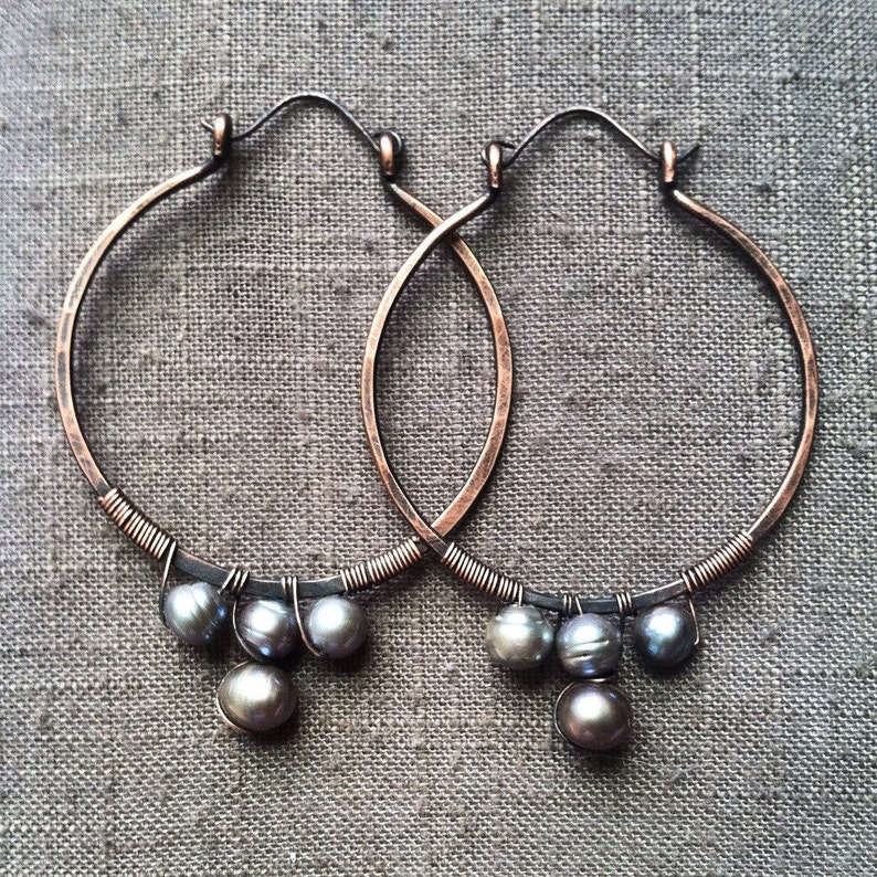 Copper and Pearl Hoop Earrings Wire Wrap Earrings Large Hoop image 0