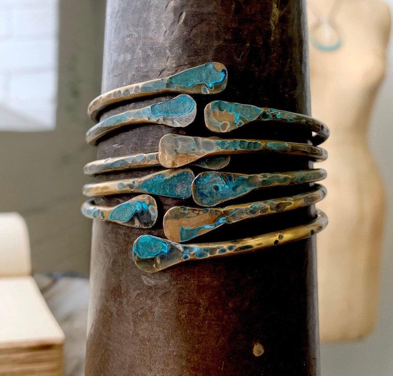 Hammered Brass Bangle Set  Shabby  Rustic Jewelry  Stacked  Bracelets  Boho  DanielleRoseBean  Green Patine   vintage brass