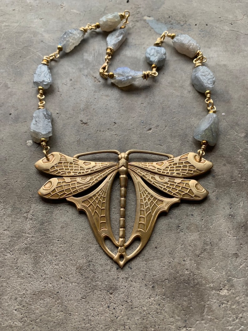 Statement Necklace / Labradorite / Butterfly Necklace / Raw image 0