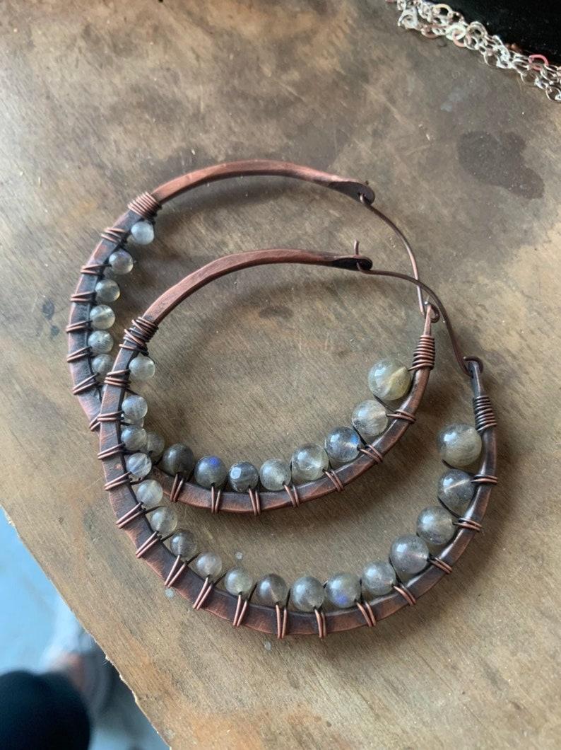 Extra Large Hoops / Copper / Labradorite / Healing Stones / image 0