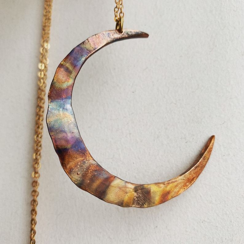 Moon Necklace / Flame Painted / Copper / Rainbow / Moon Pendant / Crescent  Moon / DanielleRoseBean / Boho / Witchy Necklace