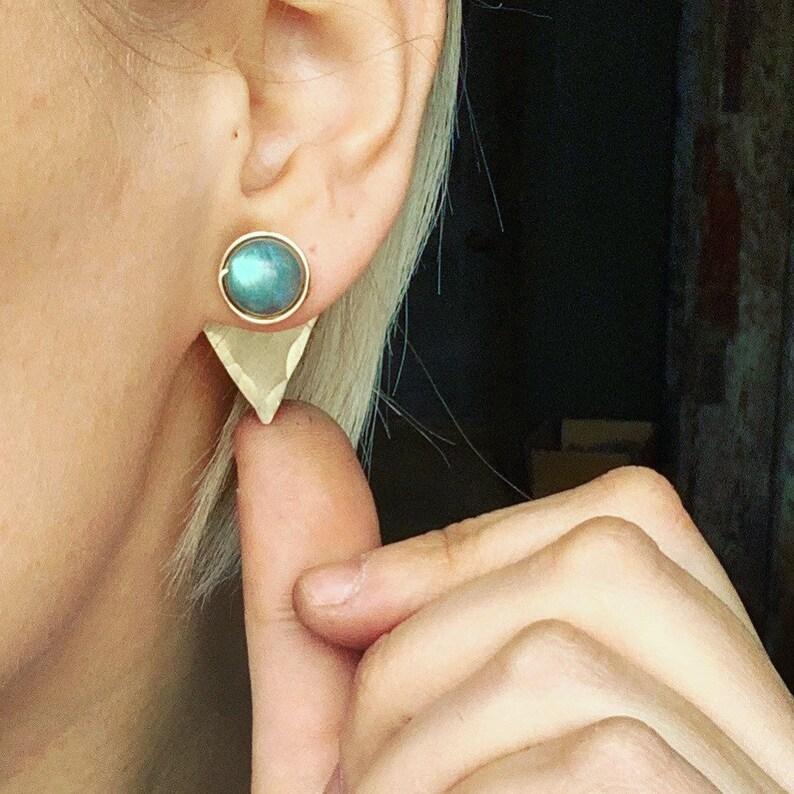 14k Gold Fill Earring Jackets Gold Earrings Labradorite image 0