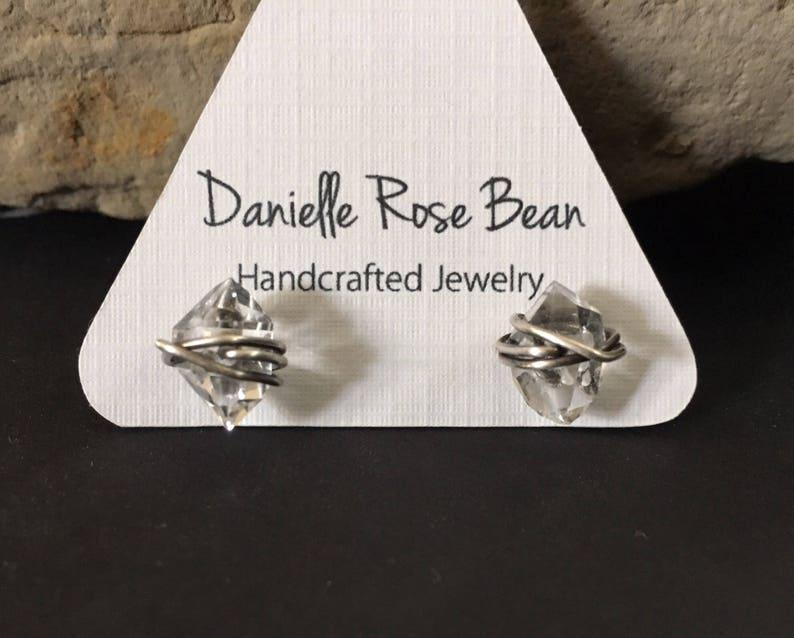 Herkimer Diamond Earrings Silver Stud  Earrings Raw Crystal image 0