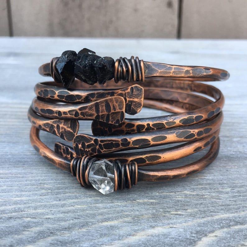 Copper Bangle Bracelets /  Raw Gemstone Bracelets Healing image 0