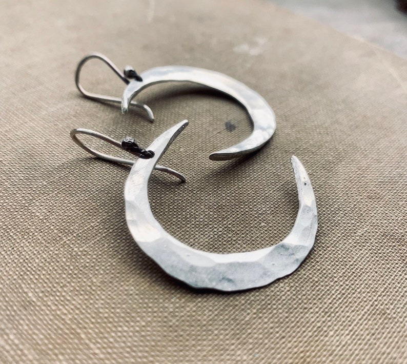 Moon Earrings / Sterling Silver / Silver Moons / Dangle image 0