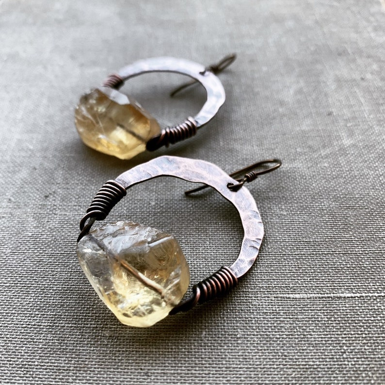 Copper Hoop Earrings / Crystal Earrings / Raw Crystal / Hoop image 0